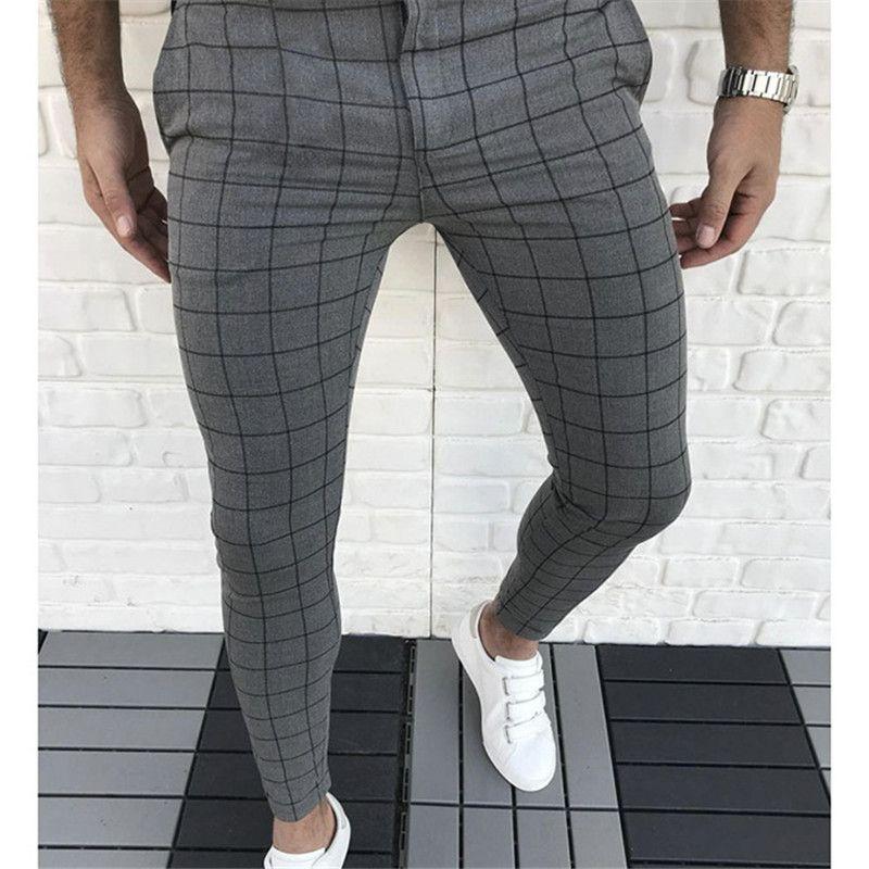 격자 무늬 패널로 디자이너 연필 바지 패션 천연 컬러 카프리 바지 캐주얼 스타일 남성 바지 남성 의류
