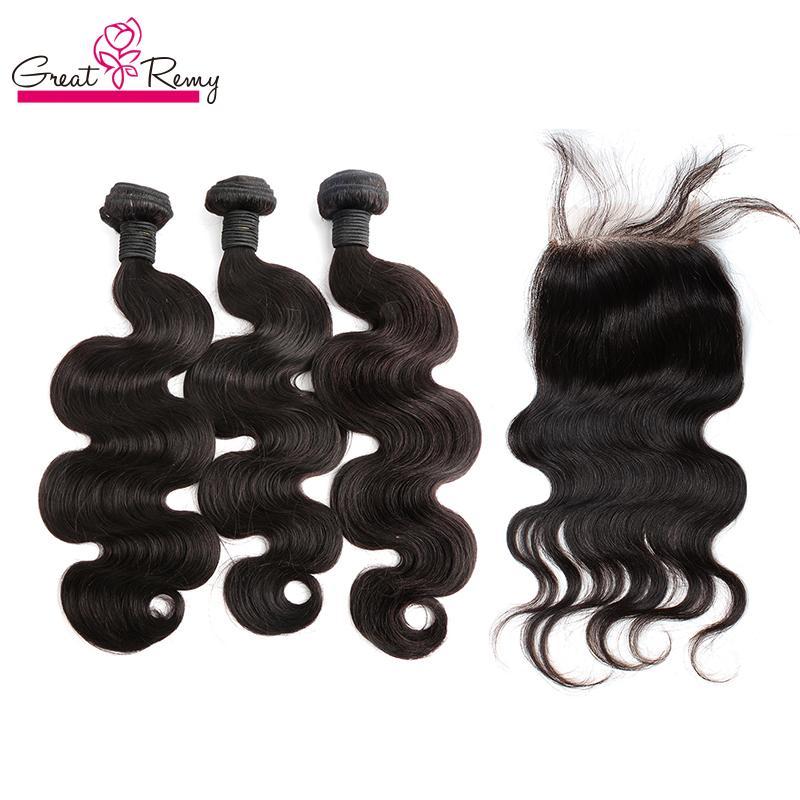 100% péruvien de cheveux humains sans traités humains avec fermeture en dentelle couleur naturelle 3pc boiserles de coiffure + 1PC supérieure de dentelle fermeture 4x4 vierge hairextension