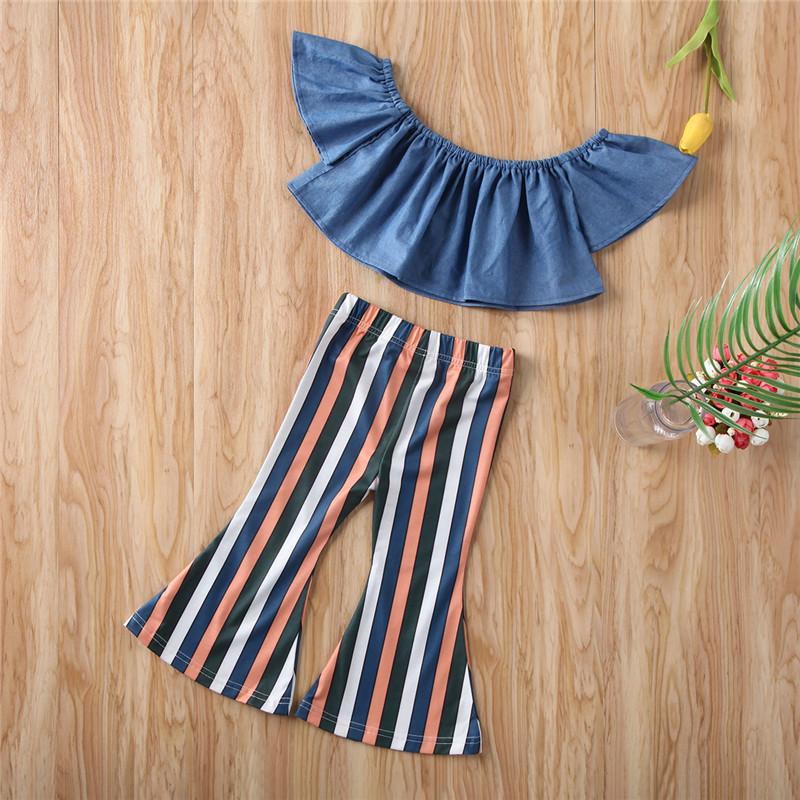 Летняя детская одежда 2020 новый бренд малыш дети девочка с плеча топы блузка полосатые длинные брюки леггинсы 2 шт. наборы