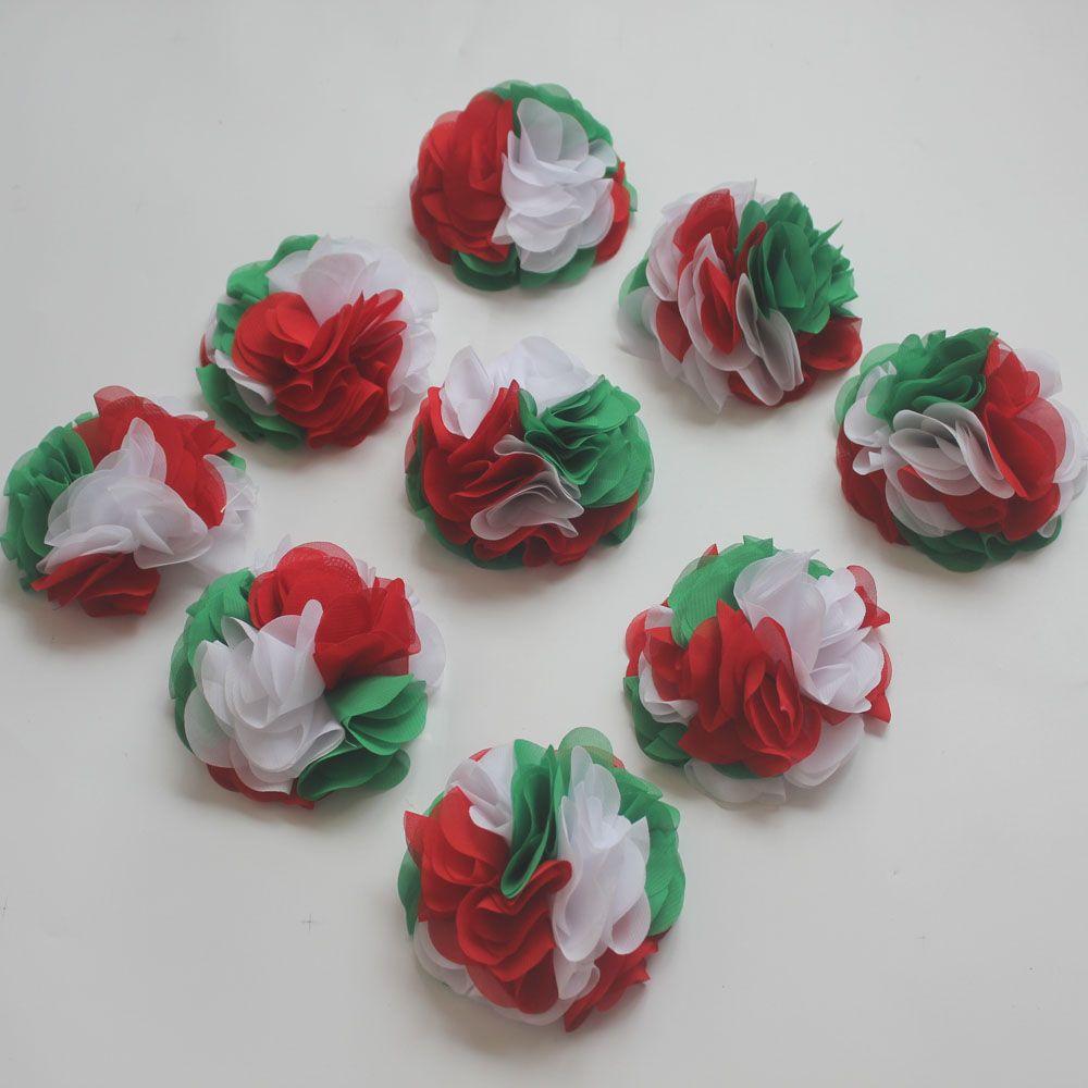 30pcs 24 petals 10cm Christmas chiffon flowers for girls headbands,Christmas craft gift flowers,hair clip flowers