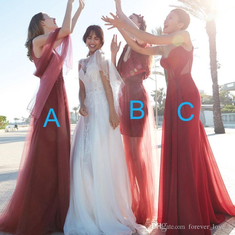 멀티 스타일 긴 공식적인 칼집 칼럼 신부 들러리 웨딩 파티 용 드레스 Burgundy Dark Red Red Ruched Tulle Lace Appliques Hourn of Honor Gown