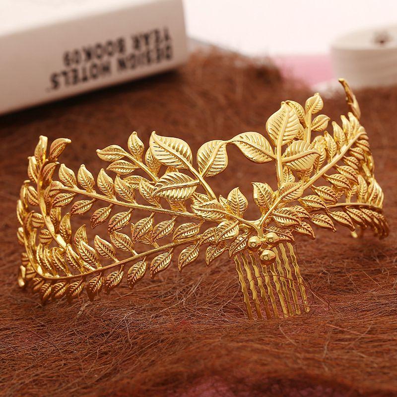 Nuevo diseño de la joyería del pelo de novia accesorios de la boda de la hoja hojas peine de oro corona de pelo de la vendimia al por mayor de las mujeres headpiece