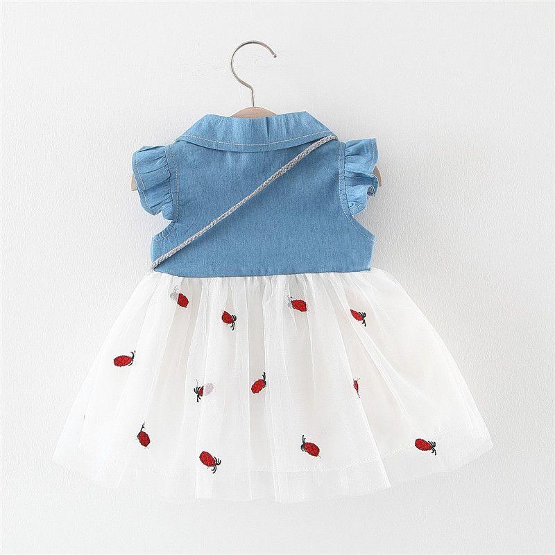 Çocuklar Tasarımcı Giyim Kız Yaz Yeni Kız Yelek Elbise Bebek Çocuk Denim Etek İşlemeli Dikiş Bebek Kız Mesh Etek