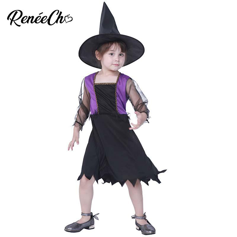 2019 New Arrival Halloween Costume For Kids Girls Witch Costume Purple Dress With Hat Carnival Cosplay Kid Costume For Groups Halloween Themed Clothes From Lichee666 24 94 Dhgate Com