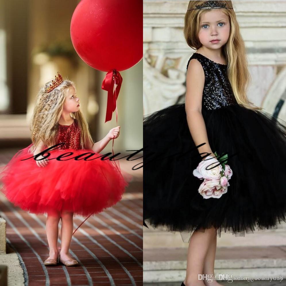 2019 Vintage Flower Girl Abiti per Boho Matrimoni Black Paillettes Pizzo Medio Oriente Dubai Princess Bambini prima comunione Abiti compleanno economico