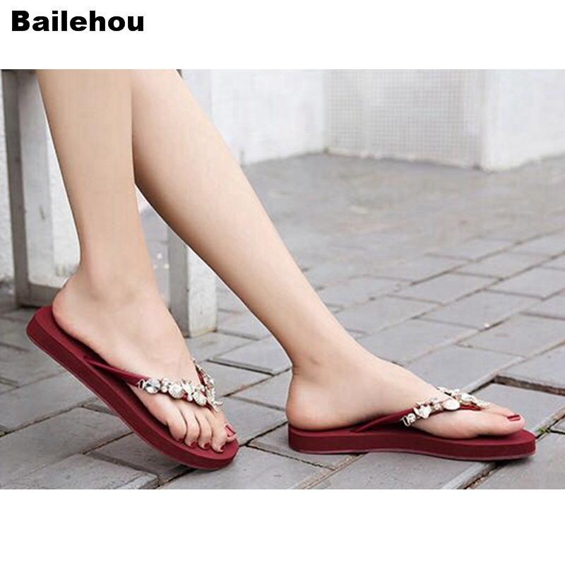 Bailehou playa de las mujeres del Rhinestone cristalino Zapatillas chancletas de casa en las afueras del deslizador de las mujeres sandalias planas de deslizamiento en los portaobjetos antideslizante del zapato