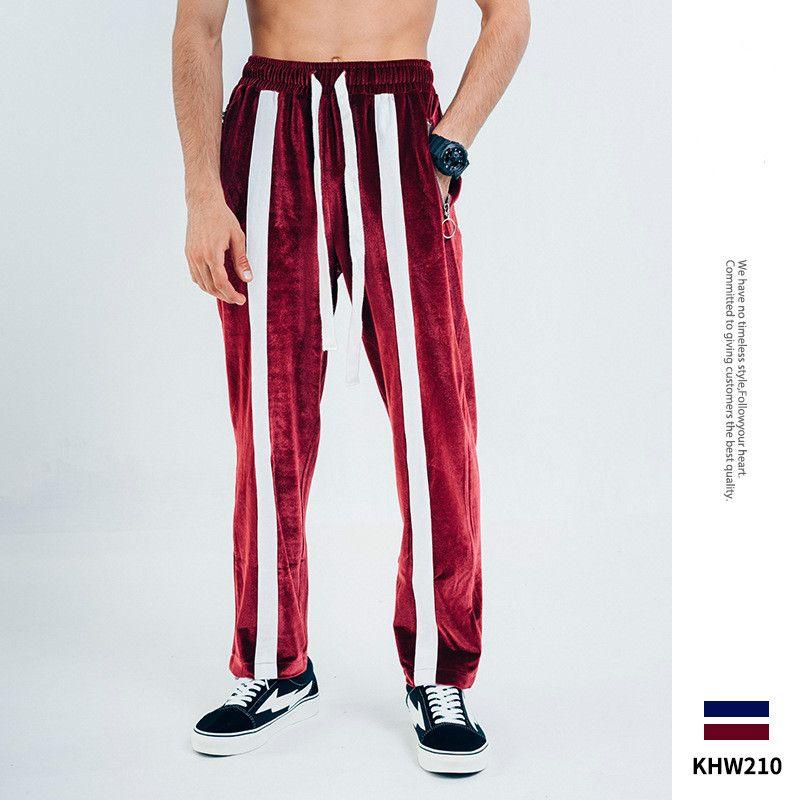Automne et Hiver New Brochage National Tide Contraste Couleur Pantalons simple d'homme Pantalons Retro Sweatpants