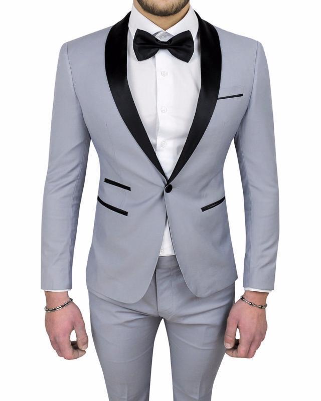 Ternos de casamento Light Gray Best Man Suit Custom Made One Button Groomsman para homens Homens Noivo Smoking Prom ternos jaqueta + calça + gravata