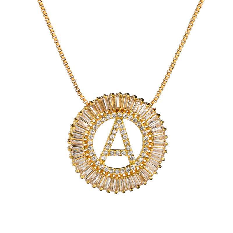 مصمم عالية الجودة الذهب قلادة طويلة الابيض زركون الأحرف الأولى رسالة قلادة القلائد للنساء الرجال دبي مجوهرات CZ Colar
