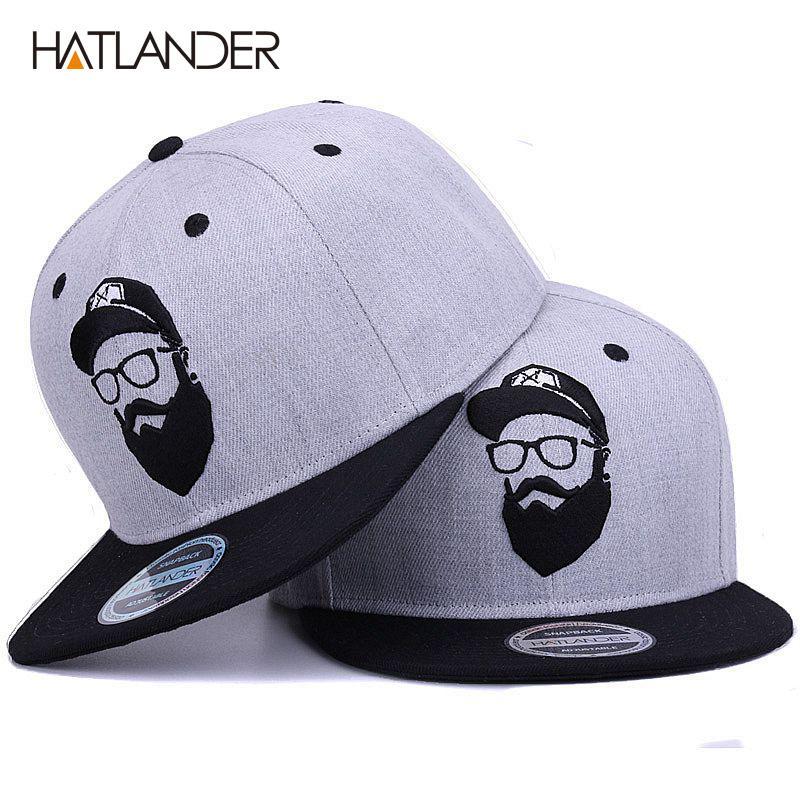 Original gris fresco mujeres de los hombres del casquillo de hip hop sombreros bordados vendimia tapas carácter de béisbol Gorras snapback planas de hueso [HATLANDER]