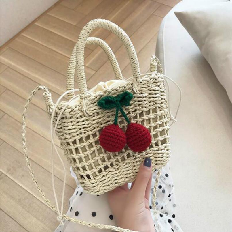 2020 Designer de Luxo Bolsas bolsas Sacos Mulheres cereja palha Adorável Seaside Holiday Beach sacos de ombro saco