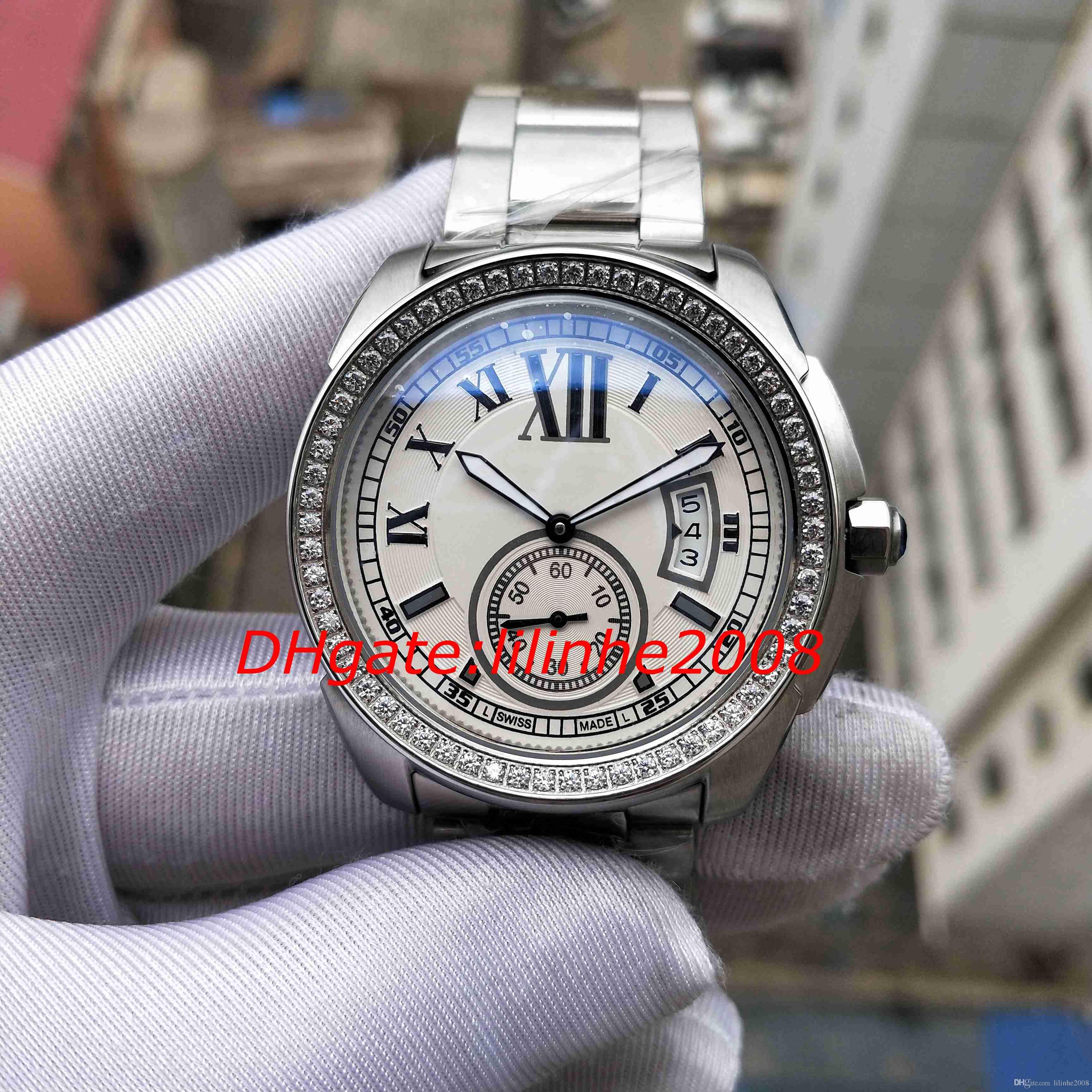 Luxo de alta qualidade Assista CALIBRE DE Series W7100015 W7100057 42MM diamante moldura cinta de aço movimento automático mens relógios