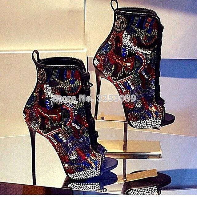 Kadınlar Çok renkli Kristal Ayak Bileği Çizmeler Burnu açık Dantel-up Zarif Renklendirme Rhinestone Patik Son Derece Yüksek Topuklu Düğün ayakkabı