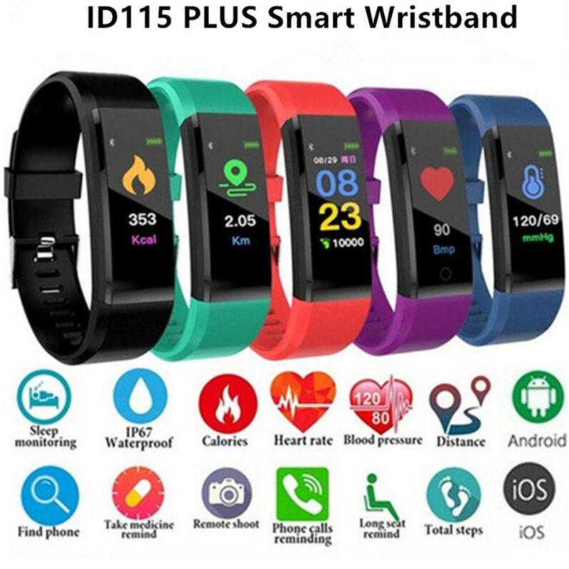 ID115 Plus-LCD-Bildschirm Smart-Armband Fitness Tracker Pedometer-Uhrenarmband Herzfrequenz-Blutdruckmessgerät Smart-Armband für Männer