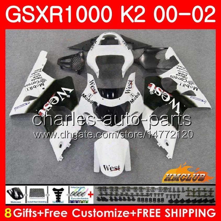 鈴木GSX-R1000 GSXR1000 K2 GSX R1000 00 02 Bodys Kit 14hc.13 GSXR-1000 GSXR 1000 00 01 02 2000 2000 2002 2002 2002 2002フェアリングホワイトウエスト新品