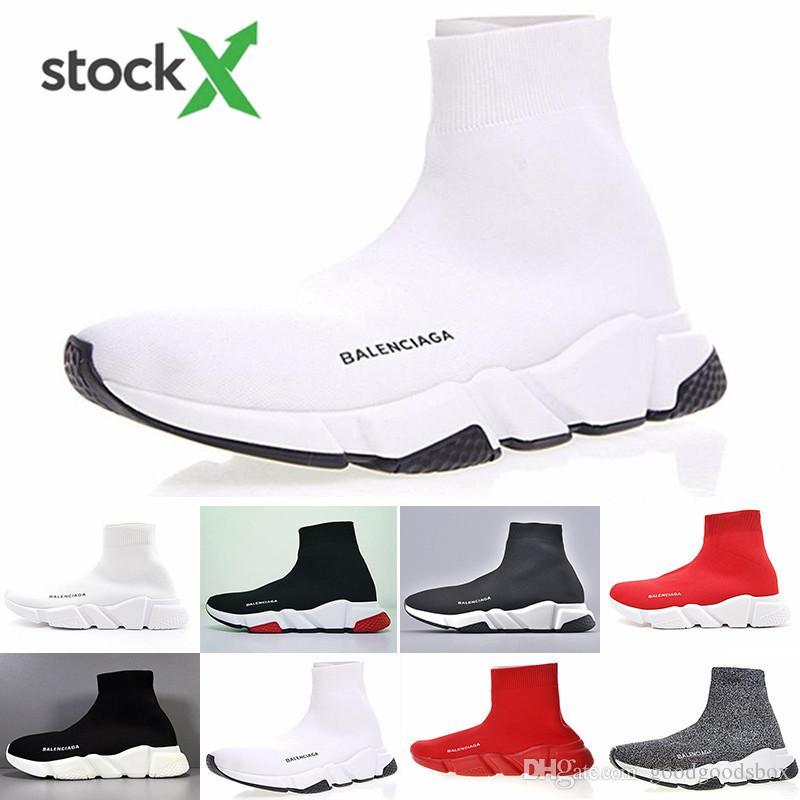 Ucuz Tasarımcılar Hız Eğitmen gündelik ayakkabı siyah beyaz kırmızı parıltı Düz Moda Çorap Çizme Spor ayakkabılar moda Eğitmenler Runner HJ56K