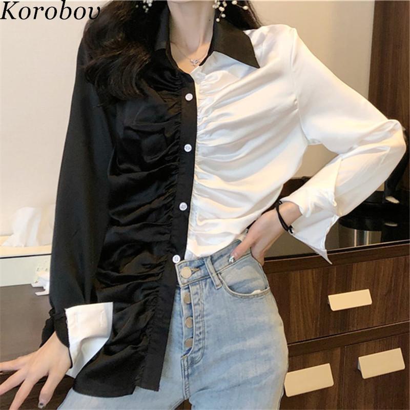 Korobov Frauen Shirts 2019 Neue Koreanisch Schwarz Weiß Patchwork Weibliche Bluse Büste Falten Einreiher Vintage Blusas 76649