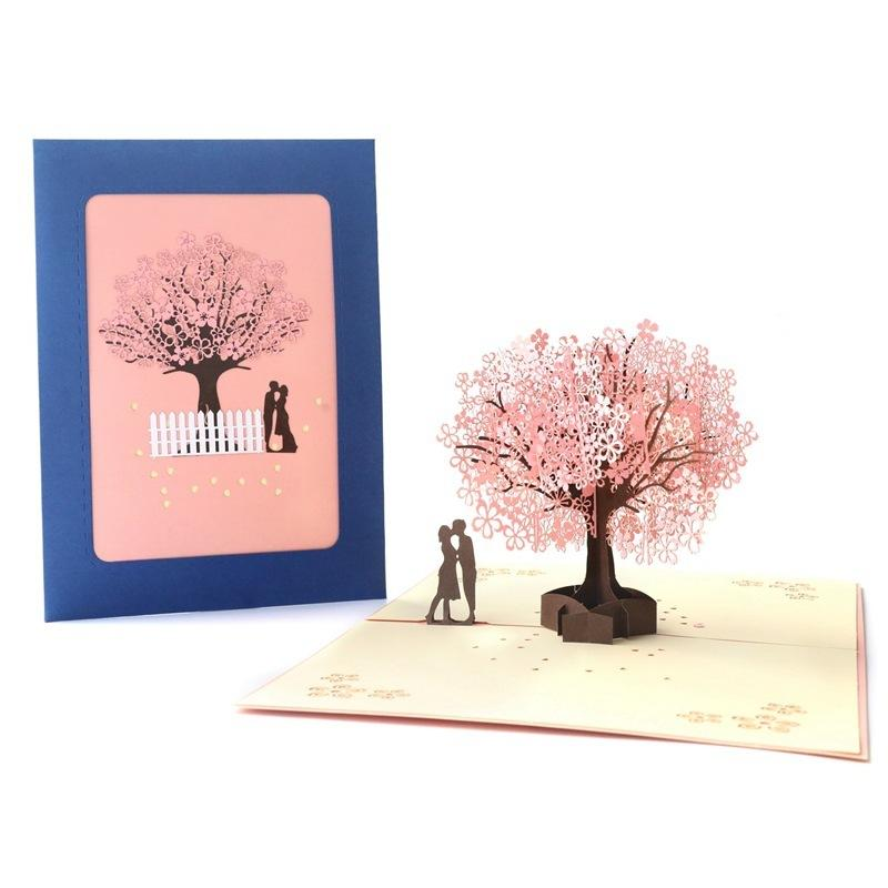 Giorno 3D San Valentino Biglietto di auguri rosa Cherry Tree mano Benedizione visita creativi di carta Biglietti d'auguri per il regalo