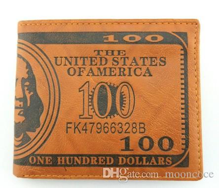수출 패션 남성 달러 지갑 지갑 믹서 가죽 디자이너 창의력 카드 소지자 지갑 어둡고 밝은 갈색 색상