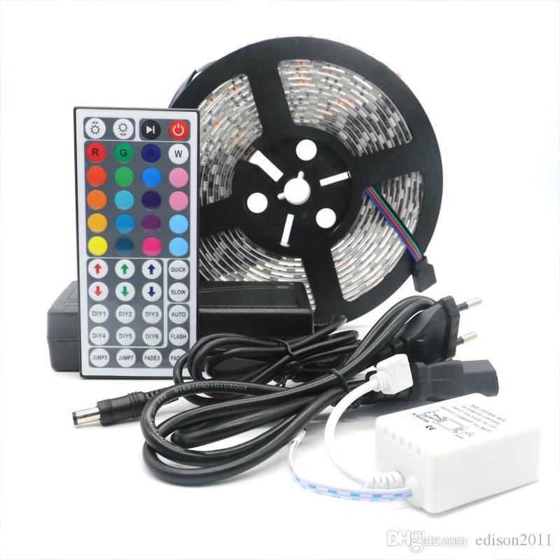 Edison2011 SMD 5050 60leds 5M 300leds Strips de LED RGB imperméables avec 44 Touche Télécommande + 12V 5A Alimentation