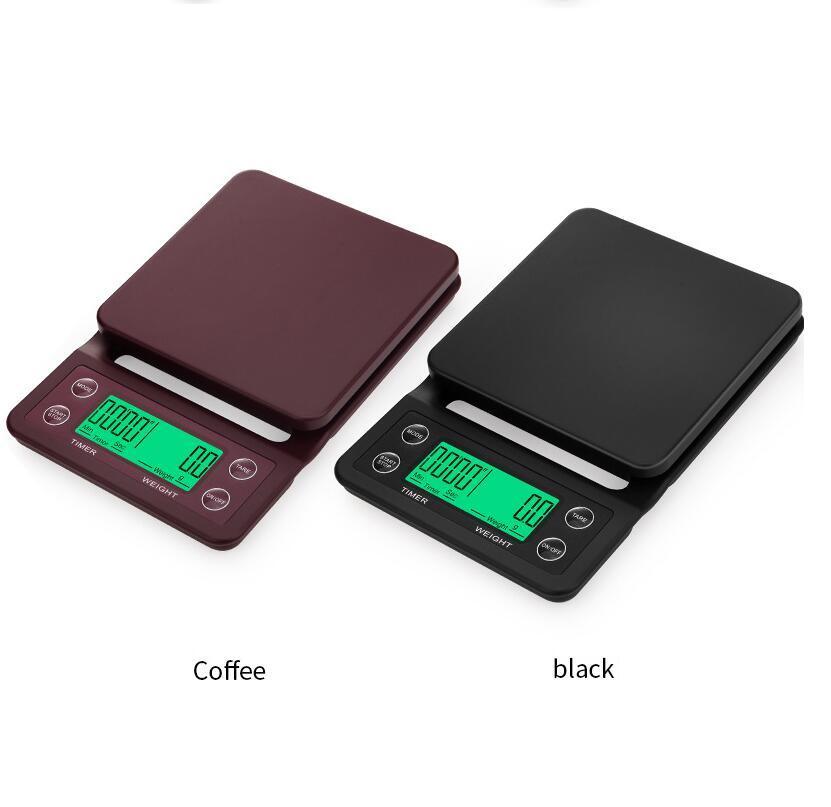 محمول 3kg و/ 0.1G بالتنقيط القهوة مقياس مع الموقت الرقمية الالكترونية مطبخ مقياس عالي الدقة LCD الطبخ ميزان وزن