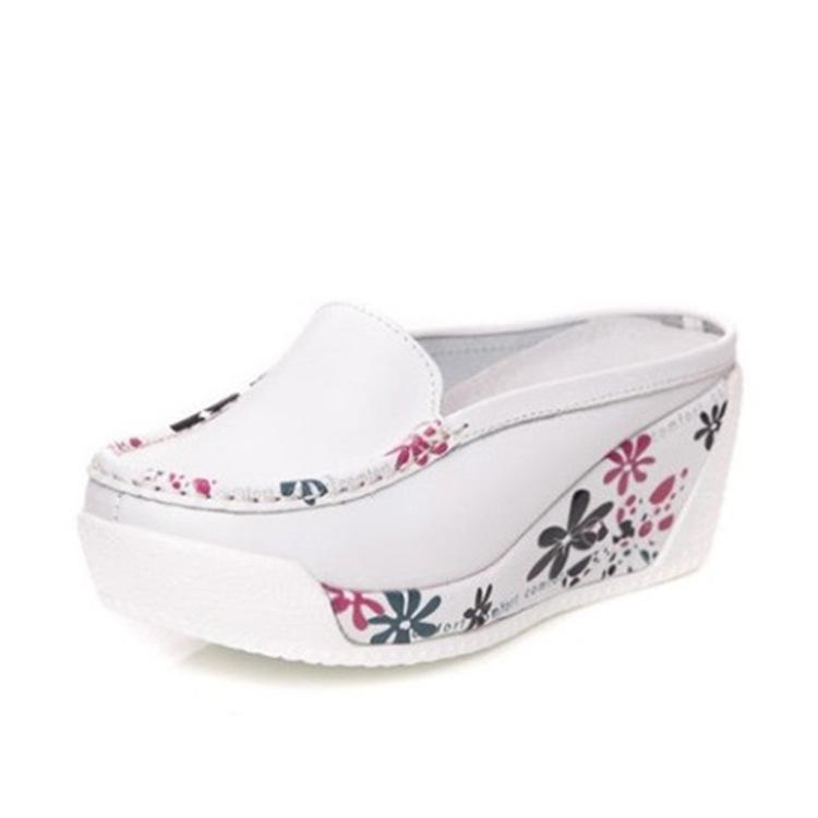 Cunei vera pelle Pantofole per le donne estate scarpe da donna Muli Tacchi alti del partito della piattaforma pantofole signore pantofole dei sandali Chinelas Mulher