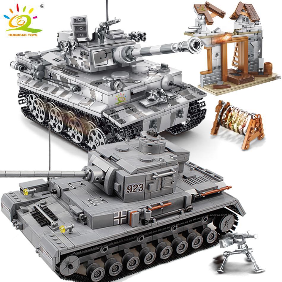 HUIQIBAO Military Series Large Panzer Tank Building Blocks Weapon WW2 Tank Army Figure City Educational Bricks Toys For Children CX200612