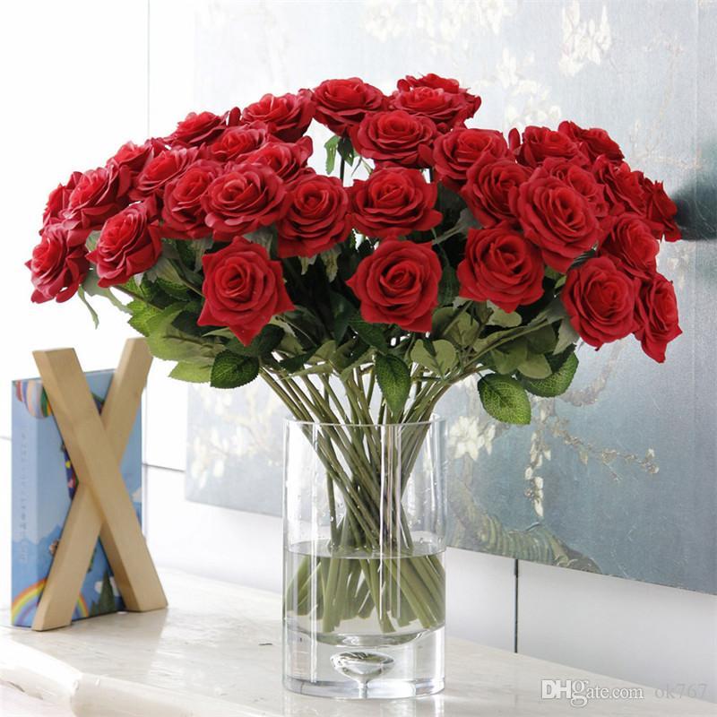 Yapay Çiçekler Gül Çiçek Ev Dekorasyon Düğün Gelin Buketi Çiçek Yüksek Kalite 10 Renkler 25 adet / grup Sıcak Satış
