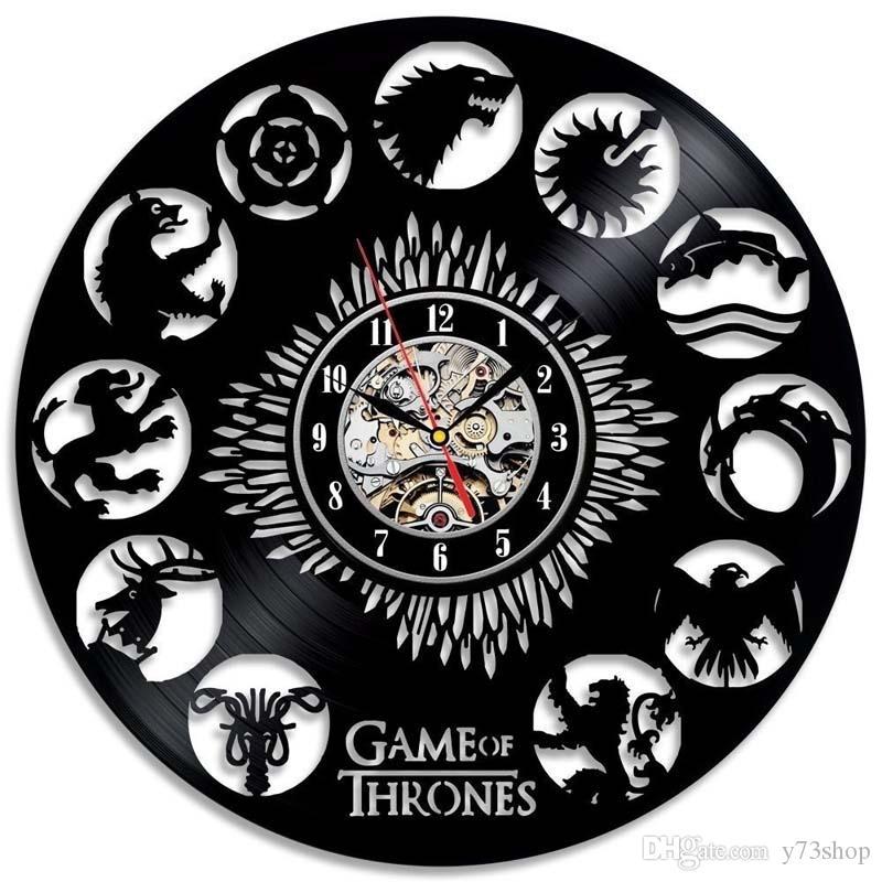 Game of Thrones Stark Khaleesi HBO film caractères Disque Vinyle conception Horloge Murale Décor À La Maison à la main Art personnalité cadeau (Taille: 12 inche