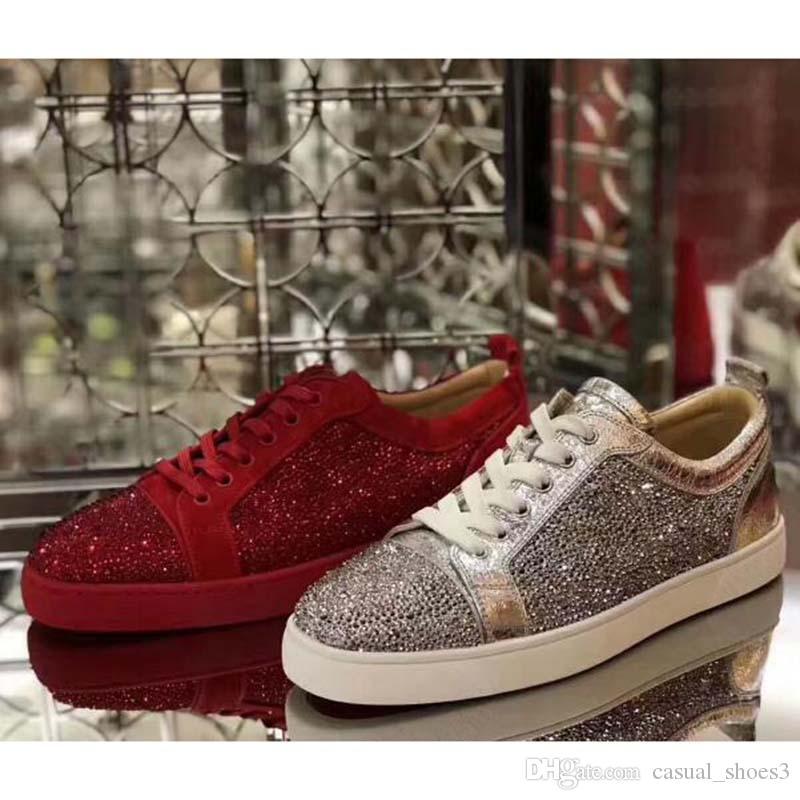 Lässige Sneakers Low Top Rot grundiert Spikes Nagel-Ebene-Schuhe Männer Frauen Veloursleder-Turnschuhe Partei Schuhe K1