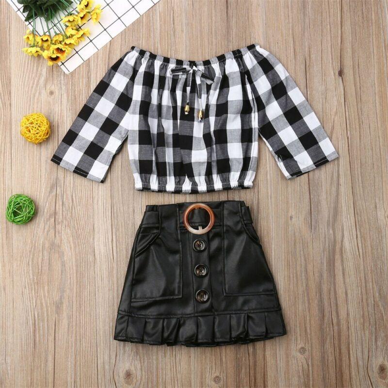 طفل الاطفال طفلة الأعلى منقوشة تي شيرت PU تنورة اللباس 2PCS تتسابق مجموعة ملابس