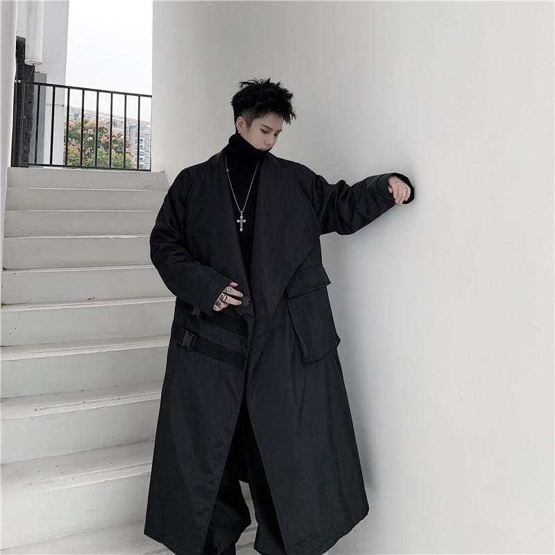 Men Loose Windbreaker Long Jacket Japan Street Dark Black Loose Trench Coat Outerwear Male Punk Gothic Fashion Casual Overcoat
