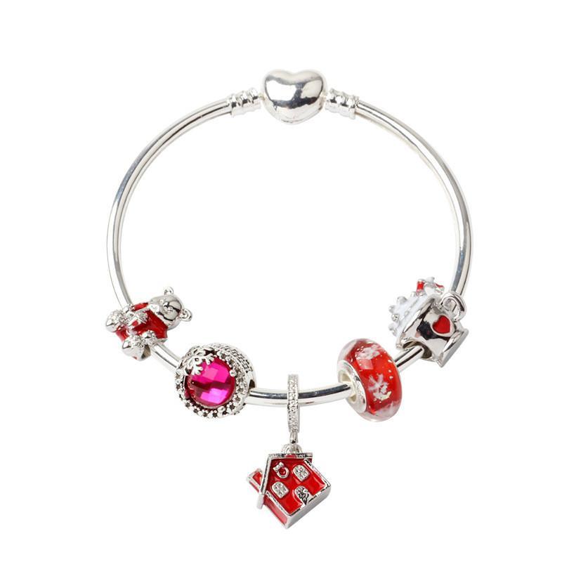 Рождество новый теплый дом подвесной браслет подходит для стиля Pandora DIY красный медведь сердца браслет украшения