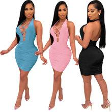European and American nightclub sexy dress halter open back solid color pleated simple bandage dress