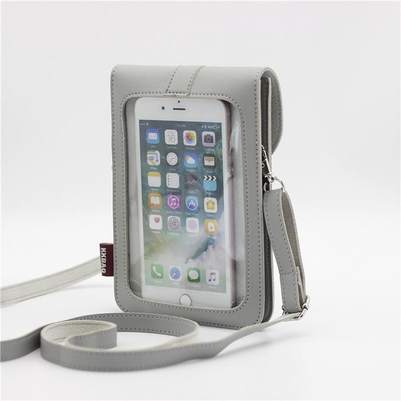 Cross-Border Spot Lock Messenger PU Leather Touch Screen Mobile Phone Bag Diagonal Bag Full Shipping kkbags