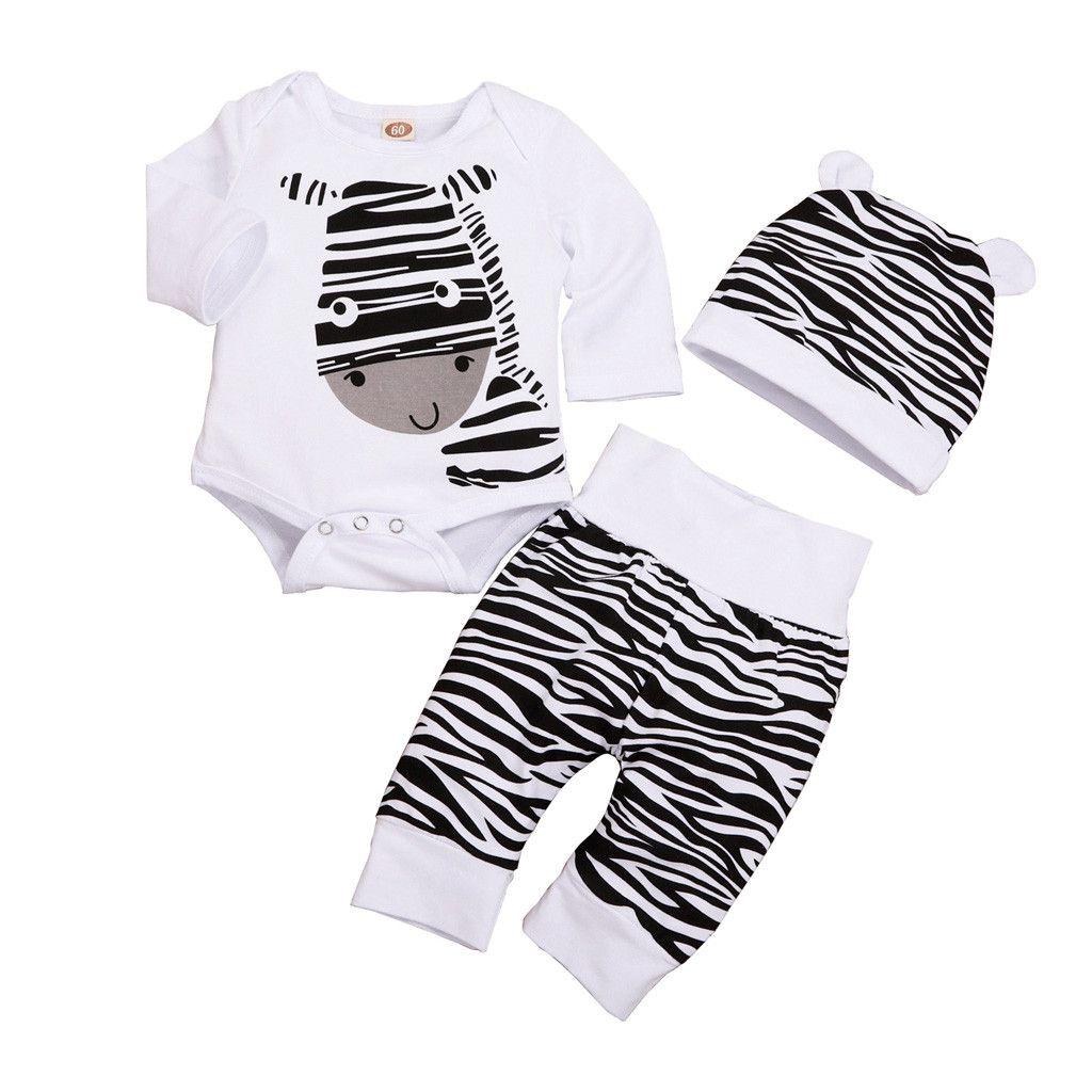 3adet Sevimli Yenidoğan Erkek Bebek Giyim Bebek Giyim Seti Zebra Romper Pantolonlar Şapka Bebek Boys Giyim Seti Kış Bebek yazdır