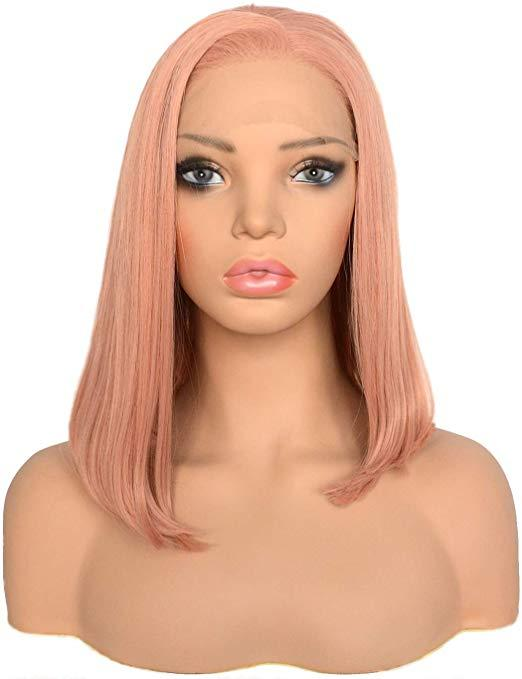 Halloween Short Bob Style Lace Front Wigs Orange Pink Color Straight Synthetic Heat Resistant Hair Rose Peach Full Wig Side Part for Women