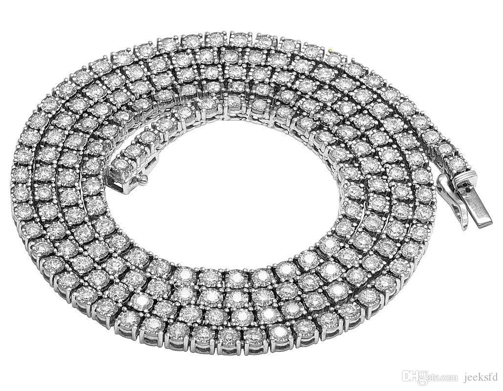 Mens Real Diamond Chain Choker 10K White Gold 1 Row Illusion Tennis Necklace ...