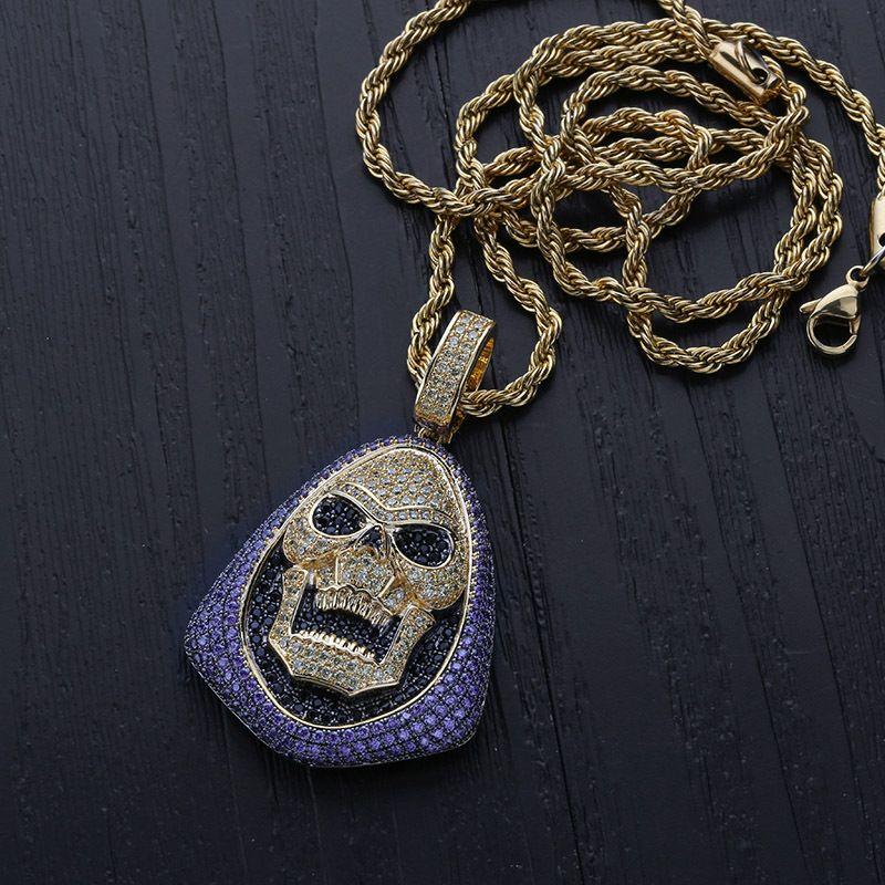 Diamante Ouro Preto Colar Bling Esqueleto Zircônia Mens Corrente Hip Guys Roxo Gelado Cúbico Pingente Pingente Balentino Jóias Presentes para H Ltja