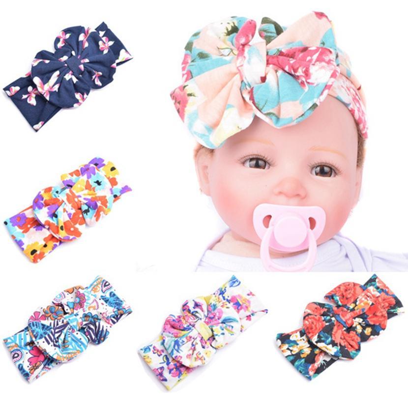 Bebek Bow Çiçek Bantlar Bohemian hairbands Çocuk Baskı Big Bow Bebek Kız Şık Saç Wrap HHA11327