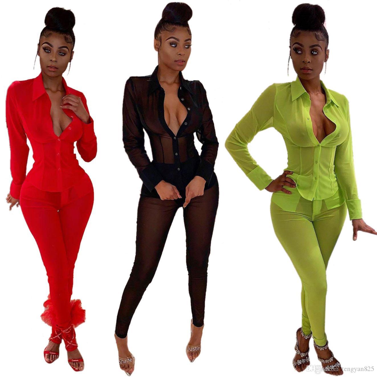 Sıcak Seksi Kadınlar Mesh Şeffaf Tişört Uzun Kollu 3272 + pantolon Suits Tops