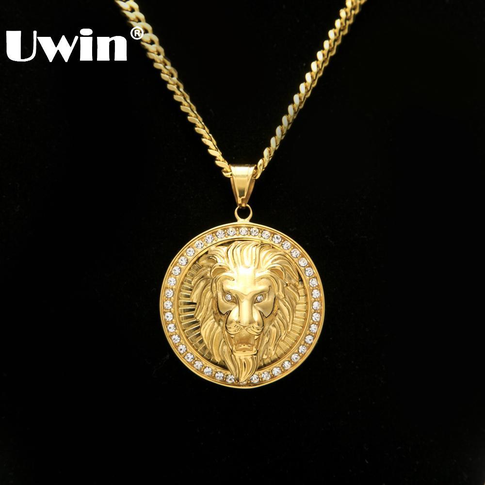 Joyería de Hip Hop para hombre Helado de Oro Color de Moda Bling Bling Lion Head Colgante Hombres Collar de Color de Oro Para Regalo / presente