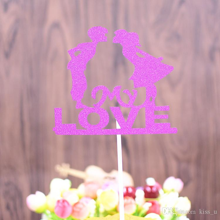 10pcs/Pack My Love Cupcake Cake Topper Flag Cake Baking Decorations For Valentine's Day Wedding Anniversary Birthday Party