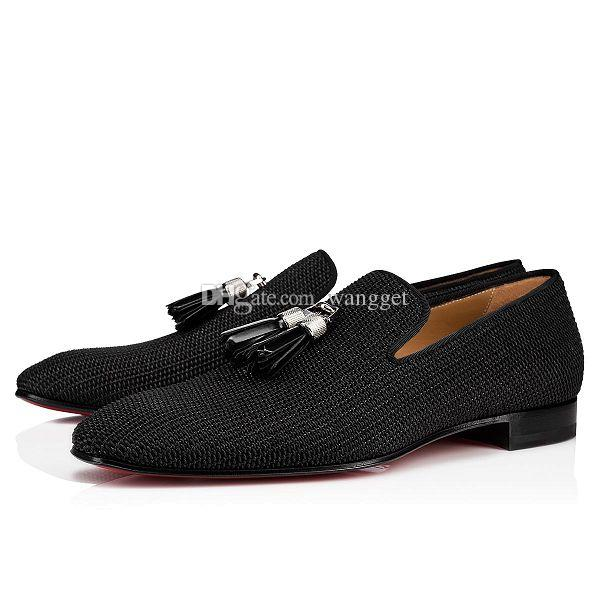 New Style Homens Negócios Moda Borla Homem Vermelho Bottom Slip em Mocassins Casual Genuine Couro Marca Vestido Homens Black Oxford com caixa