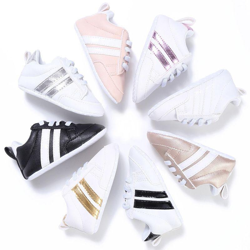 50 Çiftler Karışık Renkli Bahar Ve Sonbahar 0-1 Yaşında Yenidoğan Bebek Ayakkabı Toptan Erkekler Kızlar Yumuşak Sole Kaymaz Bebek Sneakers