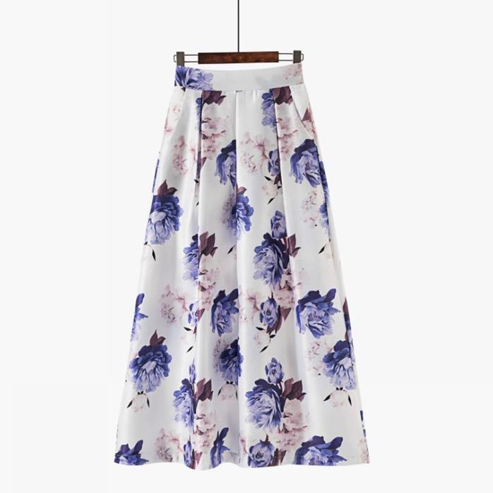 Muçulmano longa plissada Mulher saia coreano Estilo elástico na cintura Casual Túnica Vintage A Floral linha de impressão longa saia Maxi Bottoms