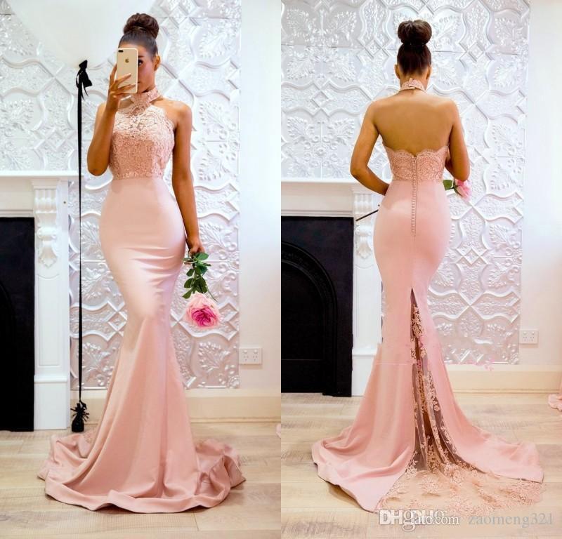 2020 apliques sirena rosada elegante del cuello alto de encaje vestidos de baile sin mangas y espalda abierta de los vestidos de noche barrer de tren vestido de dama barato