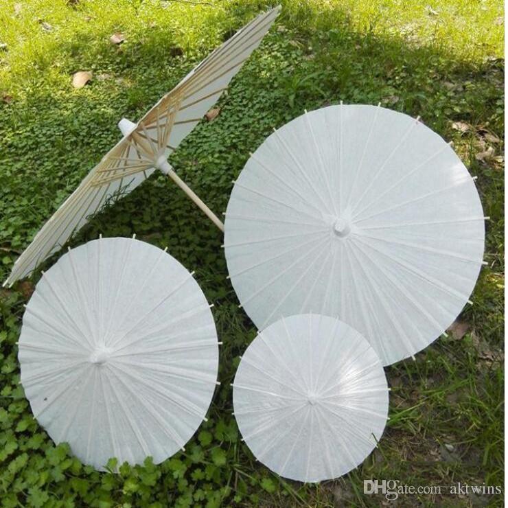 Marco de China, Japón, Parasol de papel tradicional Parasol de bambú mango de madera de bodas Sombrillas artificial blanca Paraguas 60cm LXL1197-1