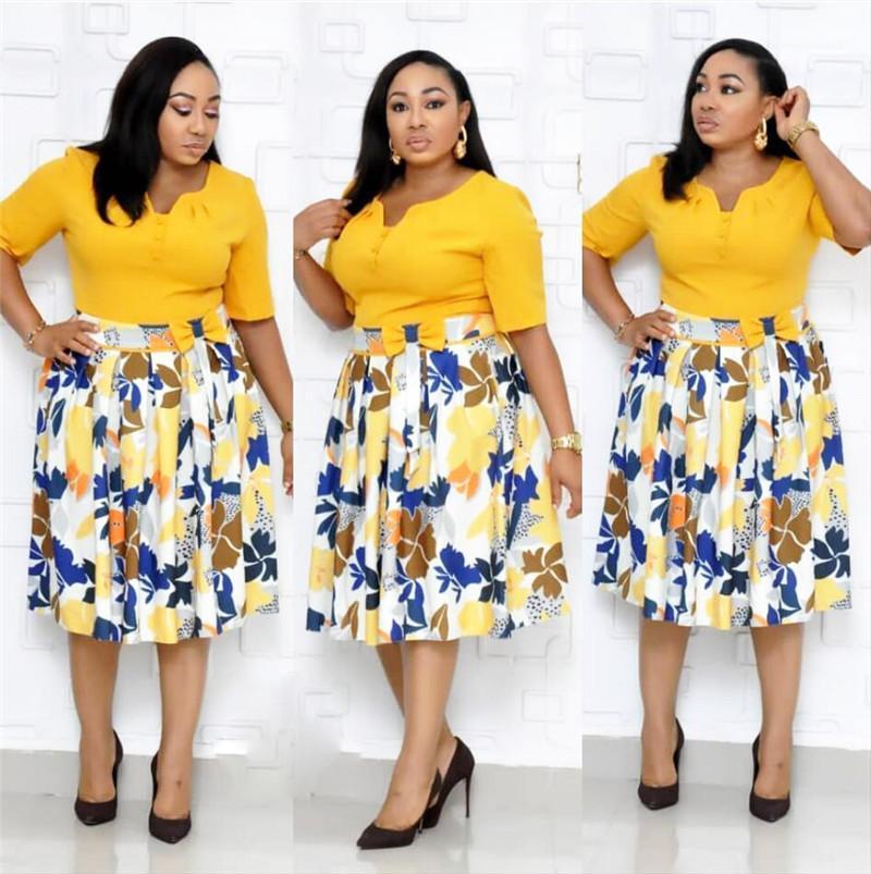 Elbiseler Rahat Zarif Flora Baskılı Yay Büyük Etekler Yarım Kollu V Boyun Elbiseler Moda Bayan Giyim Artı Boyutu Kadınlar