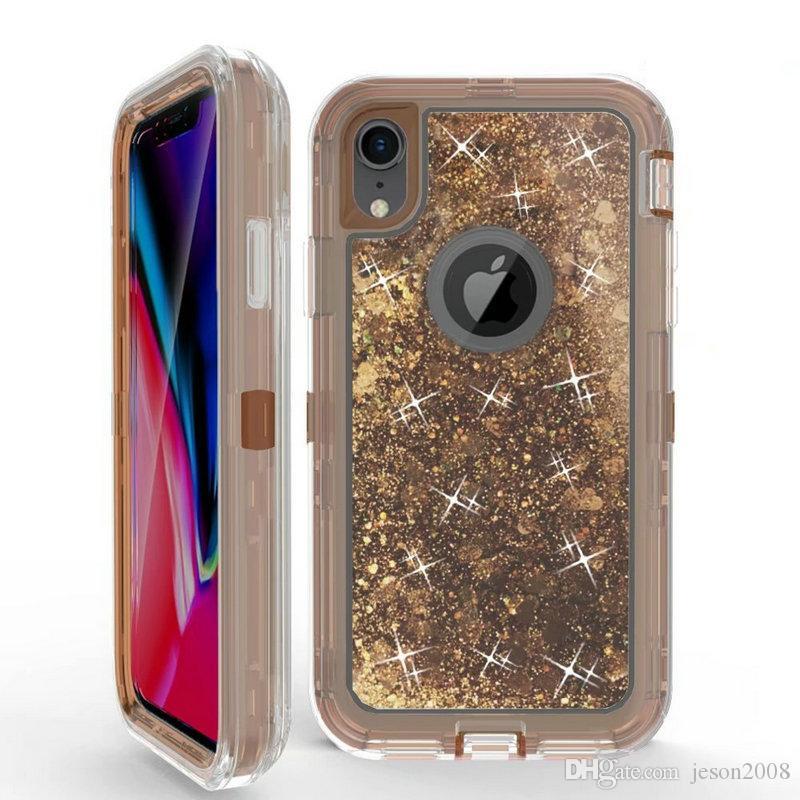 Caso líquido con brillo para el iPhone Xs Max XR X 8 7 6 Plus arena movediza Defensor cubierta para la galaxia S9 S8 + Plus S7 borde Nota 9 J3 J7 2018